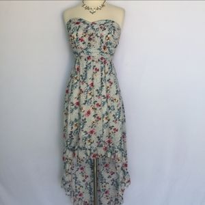 Alythea Strapless Blue Floral High Low Dress Small